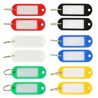 12 Stück Schlüsselschilder zum Beschriften - 6 Farben