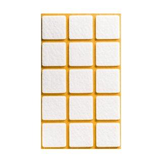 Filzgleiter selbstklebend, 30 x 30 mm, weiß, 15 Stück