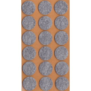 Filzgleiter selbstklebend, Ø 25 mm, grau, 18 Stück