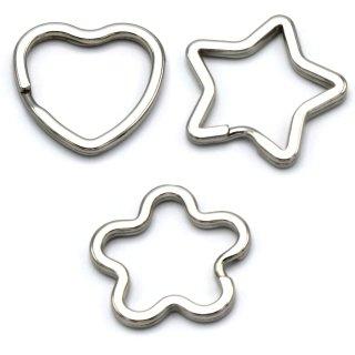 Schlüsselringe Stern, Blume und Herz - 15 Stück gemischt, glanzvernickelt