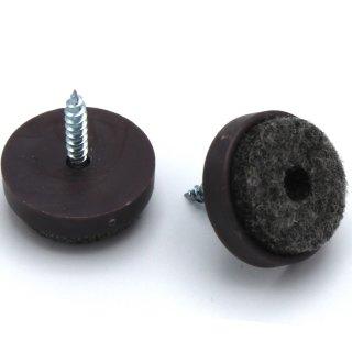 Filzgleiter Kunststoff mit Schraube, Ø 20 mm, braun