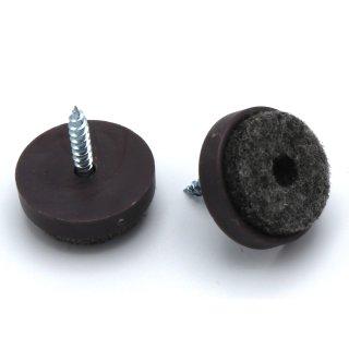 Filzgleiter Kunststoff mit Schraube, Ø 24 mm, braun