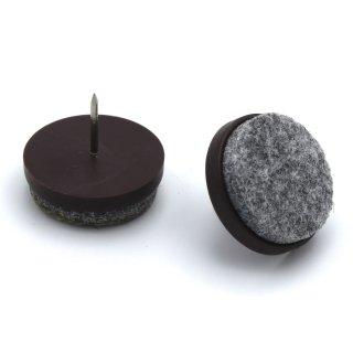 Filzgleiter Kunststoff mit Nagel, braun Ø 24 mm