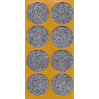 Filzgleiter selbstklebend, Ø 35 mm, grau, 8 Stück