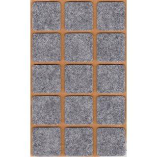 Filzgleiter selbstklebend, 30 x 30 mm, grau, 15 Stück