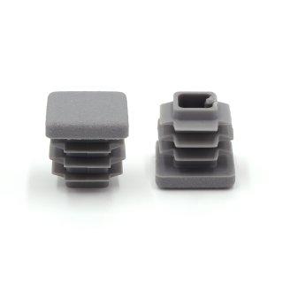 Vierkant-Rohrstopfen 15 x 15 mm grau