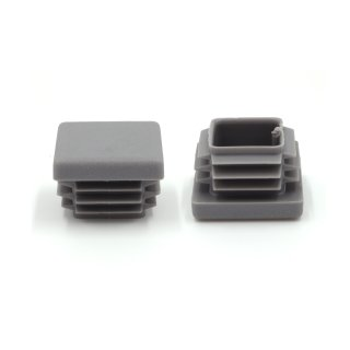 Vierkant-Rohrstopfen 20 x 20 mm grau