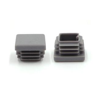Vierkant-Rohrstopfen 25 x 25 mm grau