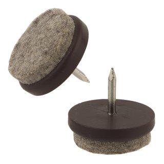 Filzgleiter Kunststoff mit Nagel, weicher Wollfilz, braun Ø 27 mm