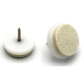 Filzgleiter Kunststoff mit Nagel, hochsteifer Wollfilz, weiß Ø 27 mm