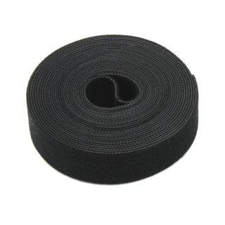 Doppelseitiges Klettband, schwarz 25 mm, 5 m