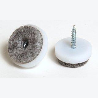 Filzgleiter Kunststoff mit Schraube, Ø 20 mm, weiß